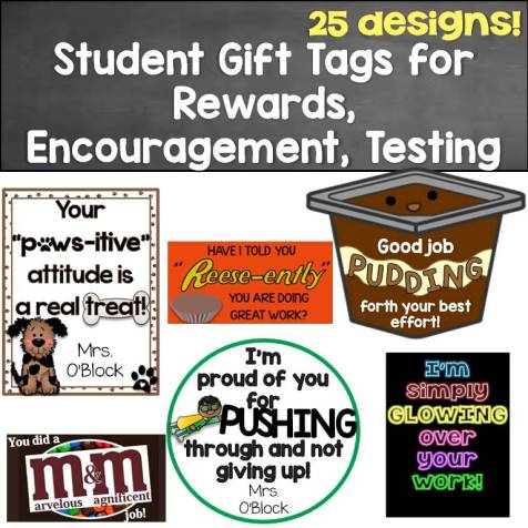 Student Gift Tags for Rewards, Testing, Incentives, Growth Mindset