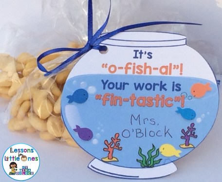 "It's ""O-fish-al""! Your Work is ""Fin-tastic""! Student Gift Tag"