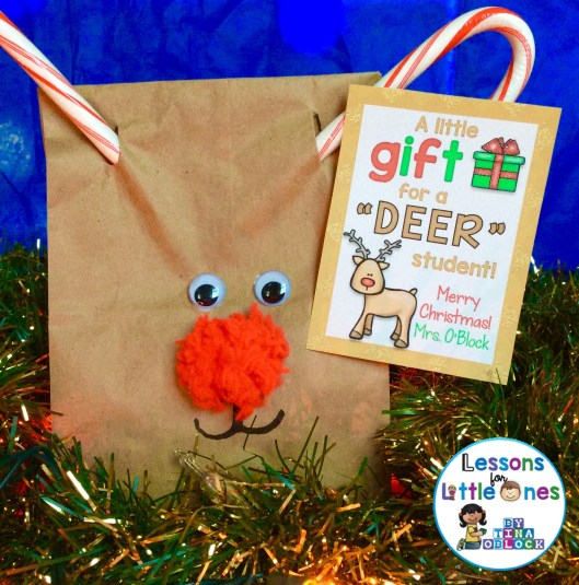 Reindeer student gift bag & Christmas student gift tag