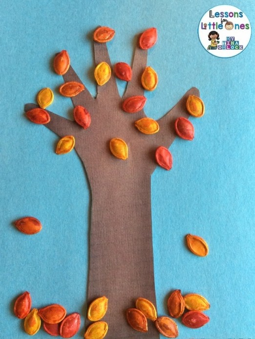 dyed pumpkin seeds fall tree art project