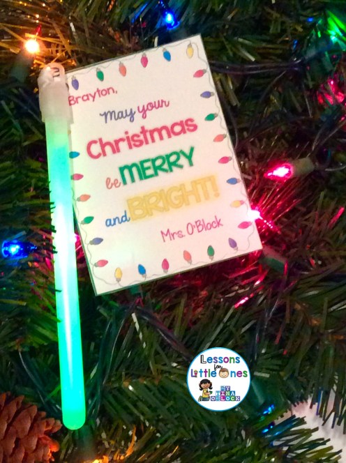 Christmas student gift tag for glowstick