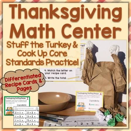 Thanksgiving Math Center for Common Core Standards