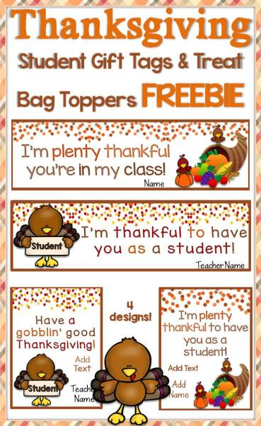 Free Thanksgiving Student Gift Tags & Treat Bag Toppers