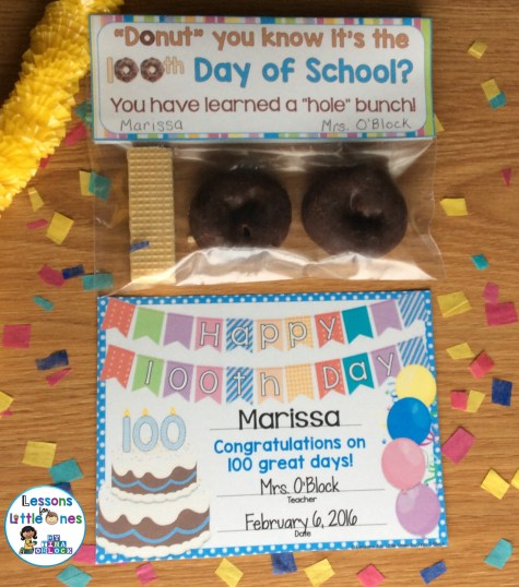 100th Day of School treat bag topper and award / certificate