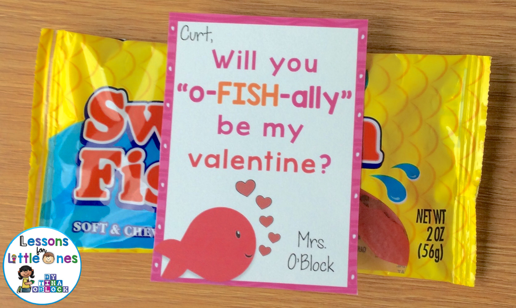 """Will you """"o-fish-ally"""" be my valentine? student gift"""