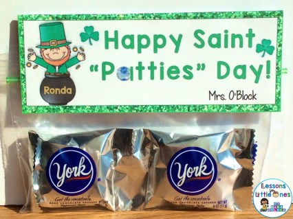 St. Patrick's Day Treat Idea for Students with Treat Bag Topper
