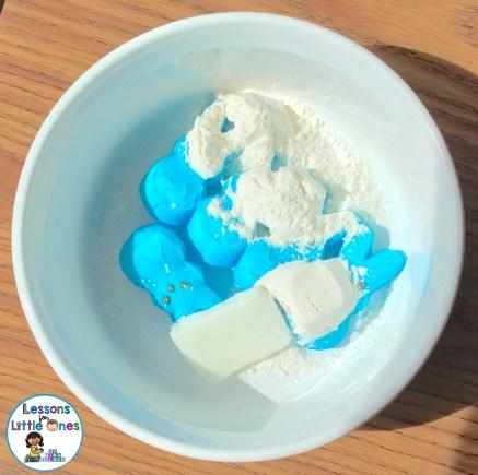 Easter Peeps Playdough Ingredients Blue