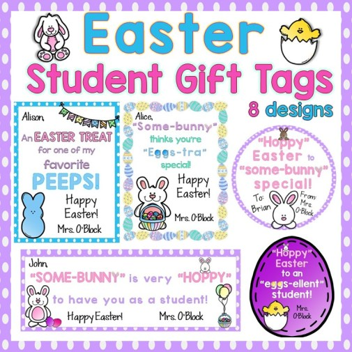 Easter Student Gift Tags Editable
