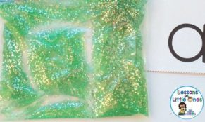 practicing alphabet letters with gel bags