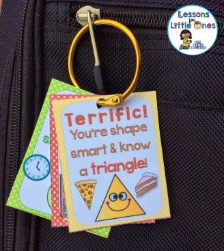 shapes brag tag on binder ring