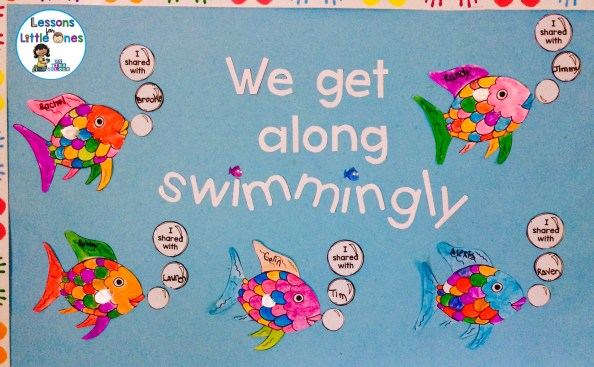 Rainbow Fish bulletin board, classroom display