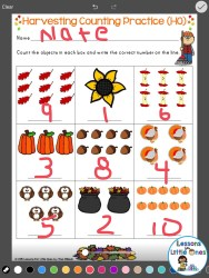 counting, writing numbers practice using Pic Collage