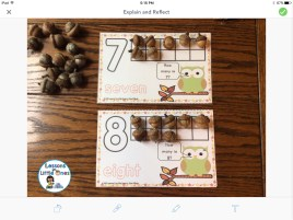 photo of fall number mats in Seesaw app