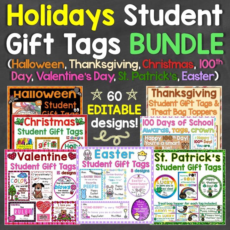 Holiday Student Gift Tags Bundle
