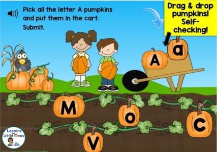 letter recognition practice pumpkin Boom Cards
