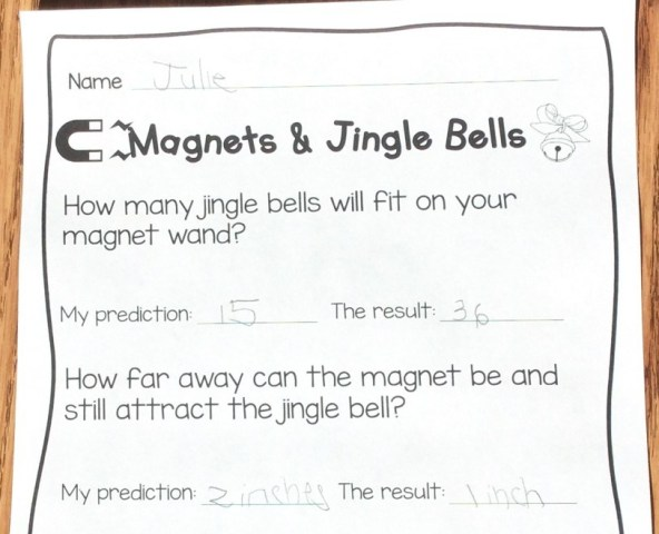 jingle bells magnets Christmas science page