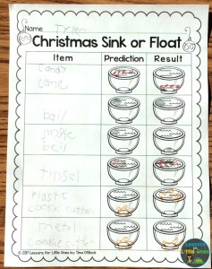 Christmas sink or float page