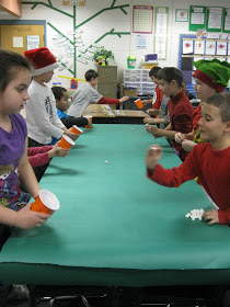 snowball toss classroom Christmas game