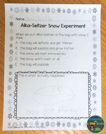 Alka-Seltzer & snow experiment page