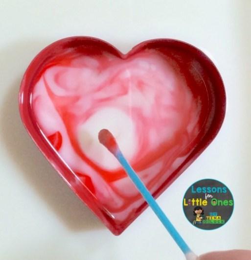 valentine science magic milk experiment