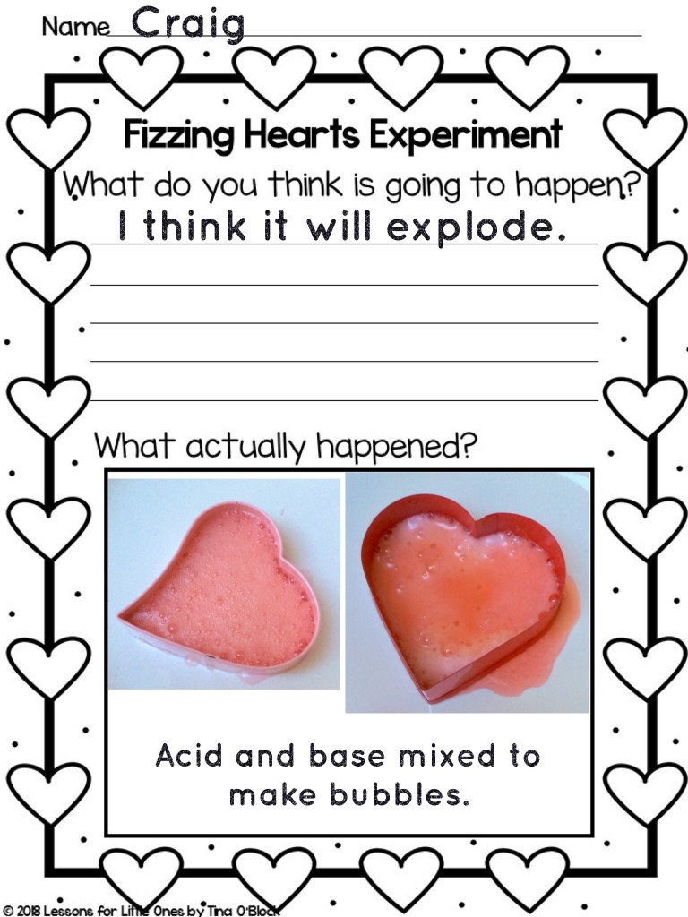 valentine fizzing hearts experiment Pic Collage