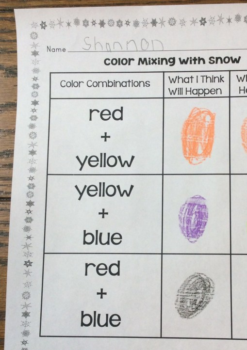 snow color mixing experiment page
