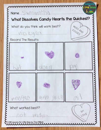 valentine candy hearts science page