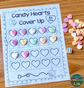 Valentine's Day math center counting candy hearts cover up