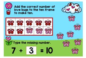 digital math center Valentine Making 10