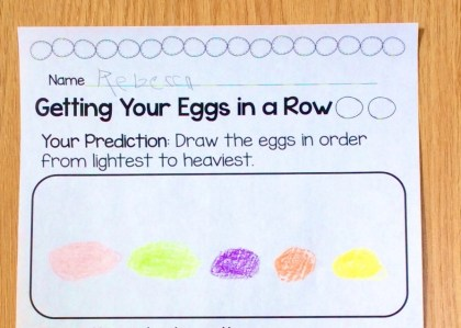 Easter egg science experiment weight and mass page