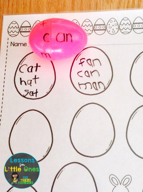 plastic Easter eggs literacy center word families