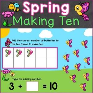 making ten kindergarten spring digital task cards
