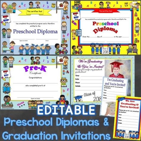 Preschool Diplomas & Graduation Invitations Editable