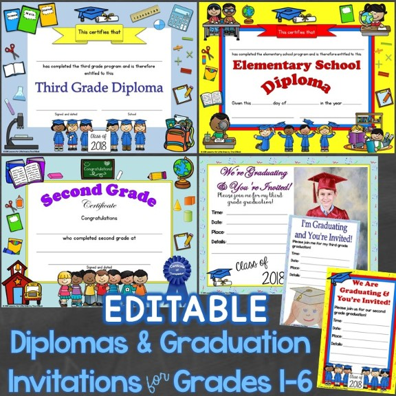 diplomas graduation invitations editable for elementary
