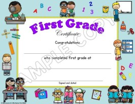 first grade certificate of completion
