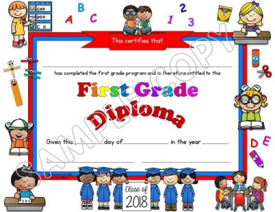 first grade diploma white background
