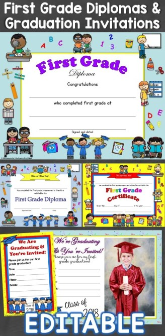 First Grade Diplomas & Graduation Invitations Editable