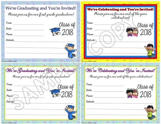 first grade graduation invitations editable