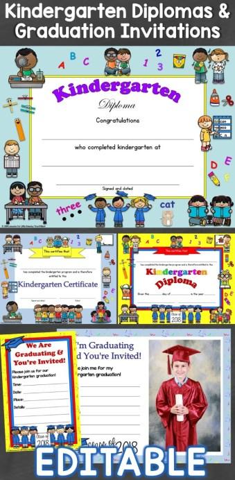 Kindergarten Diplomas & Graduation Invitations Editable