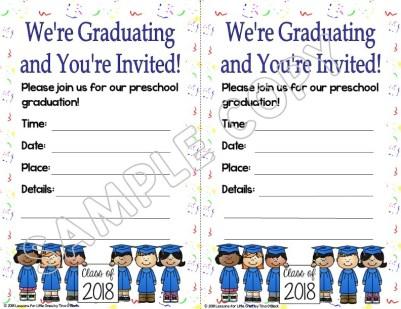 preschool graduation invitation white background