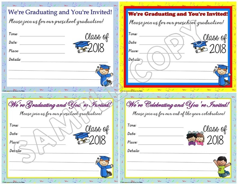 Preschool graduation invitations announcements lessons for little preschool graduation invitations announcements editable filmwisefo
