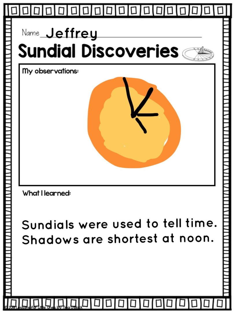 sundial science experiment page in Pic Collage app
