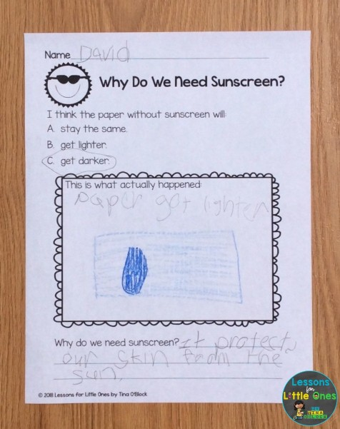 sunscreen science experiment page