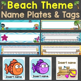 beach theme name plates name tags