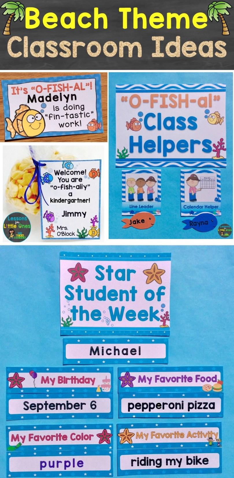 beach theme classroom ideas & first day of school activities