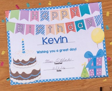 birthday certificate for student editable