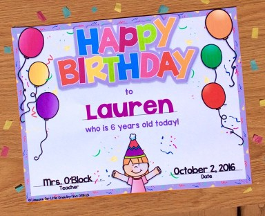 Editable Student Birthday Certificate