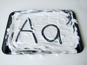 shaving cream alphabet letters
