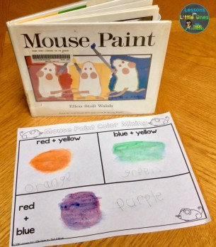 Mouse Paint color mixing activity