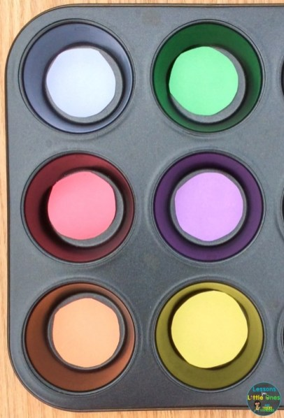 color sorting activity for color recognition muffin tin